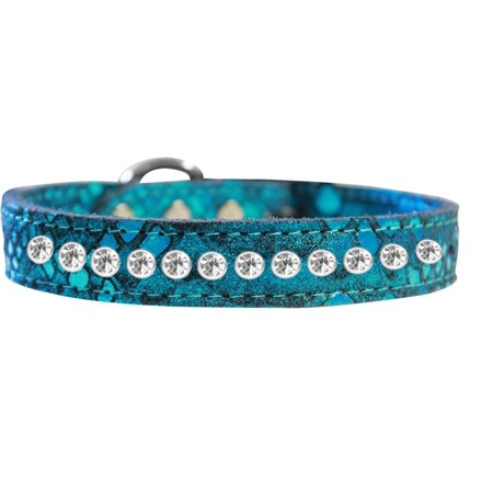 One Row Clear Jeweled Dragon Skin Genuine Leather Dog Collar Blue Size 14
