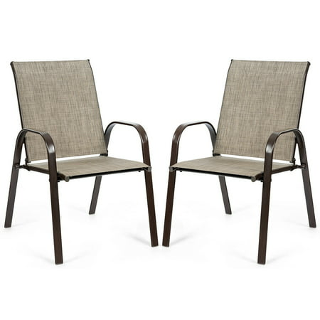 Gymax Set of 2 Patio Chairs Dining Chairs Garden Outdoor w/ Armrest Steel Frame