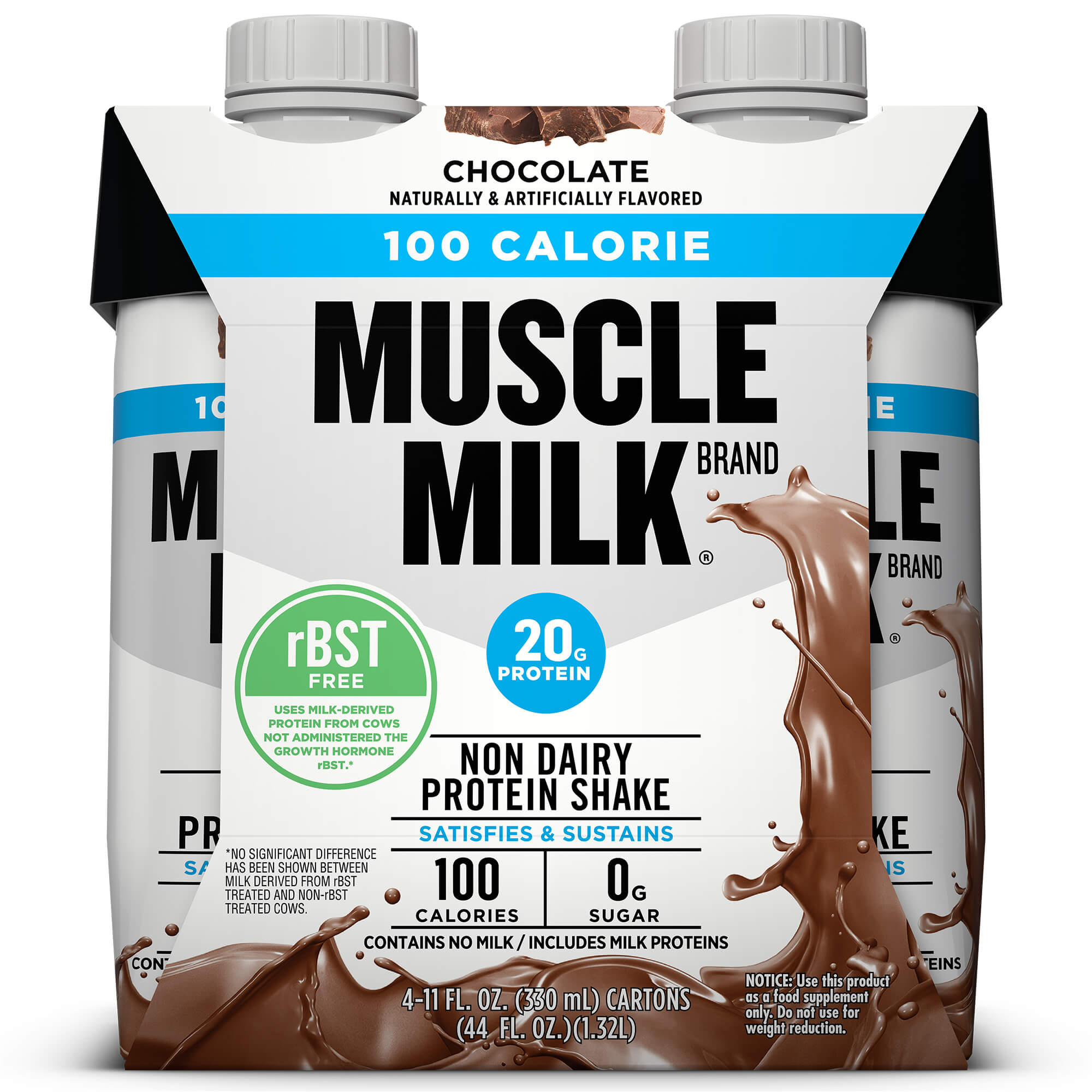 Muscle Milk 100 Calorie Non-Dairy Protein Shake, Chocolate, 20g Protein, Ready to Drink, 11 fl. oz., 4-Pack