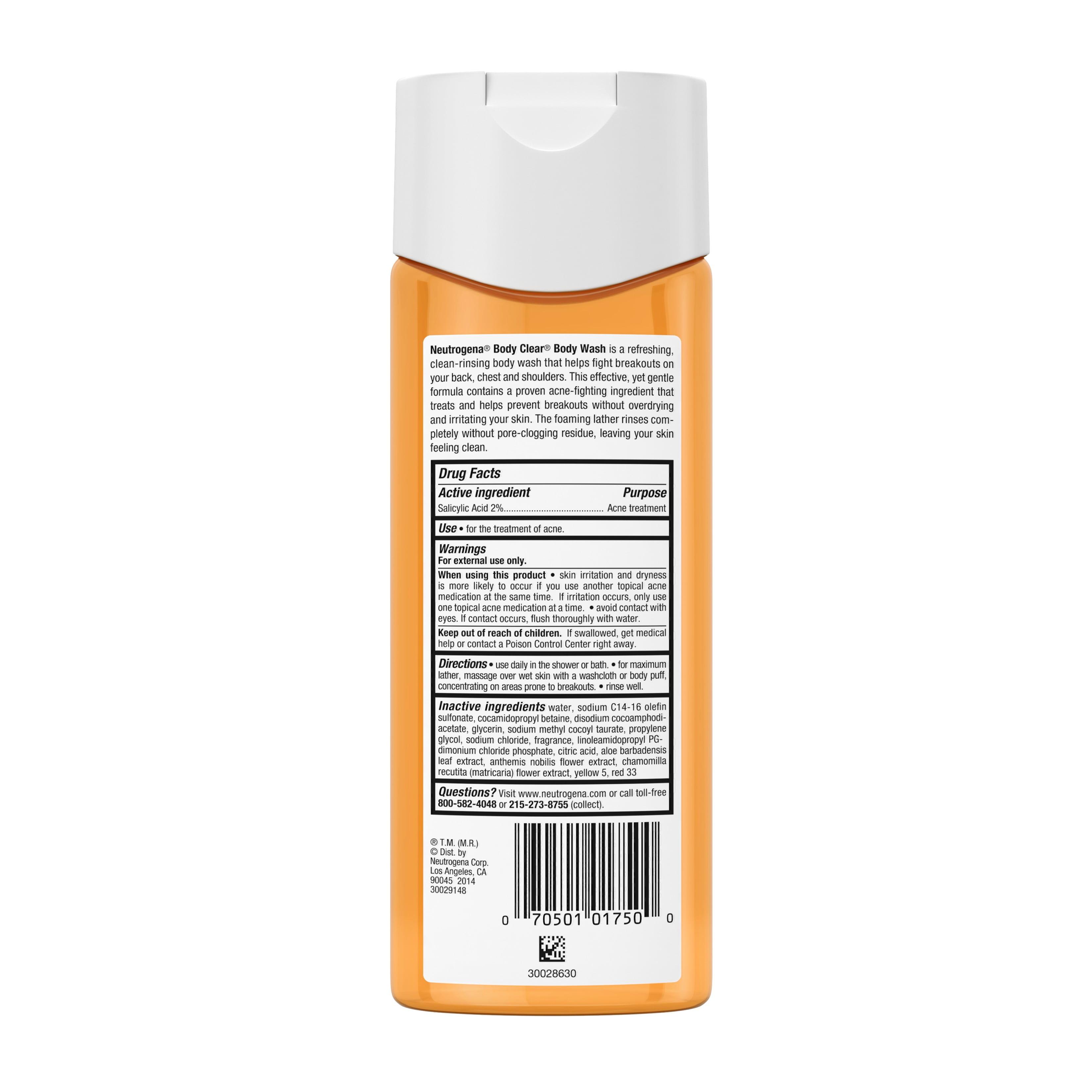 Neutrogena Body Clear Acne Body Wash With Glycerin 8 5 Fl Oz