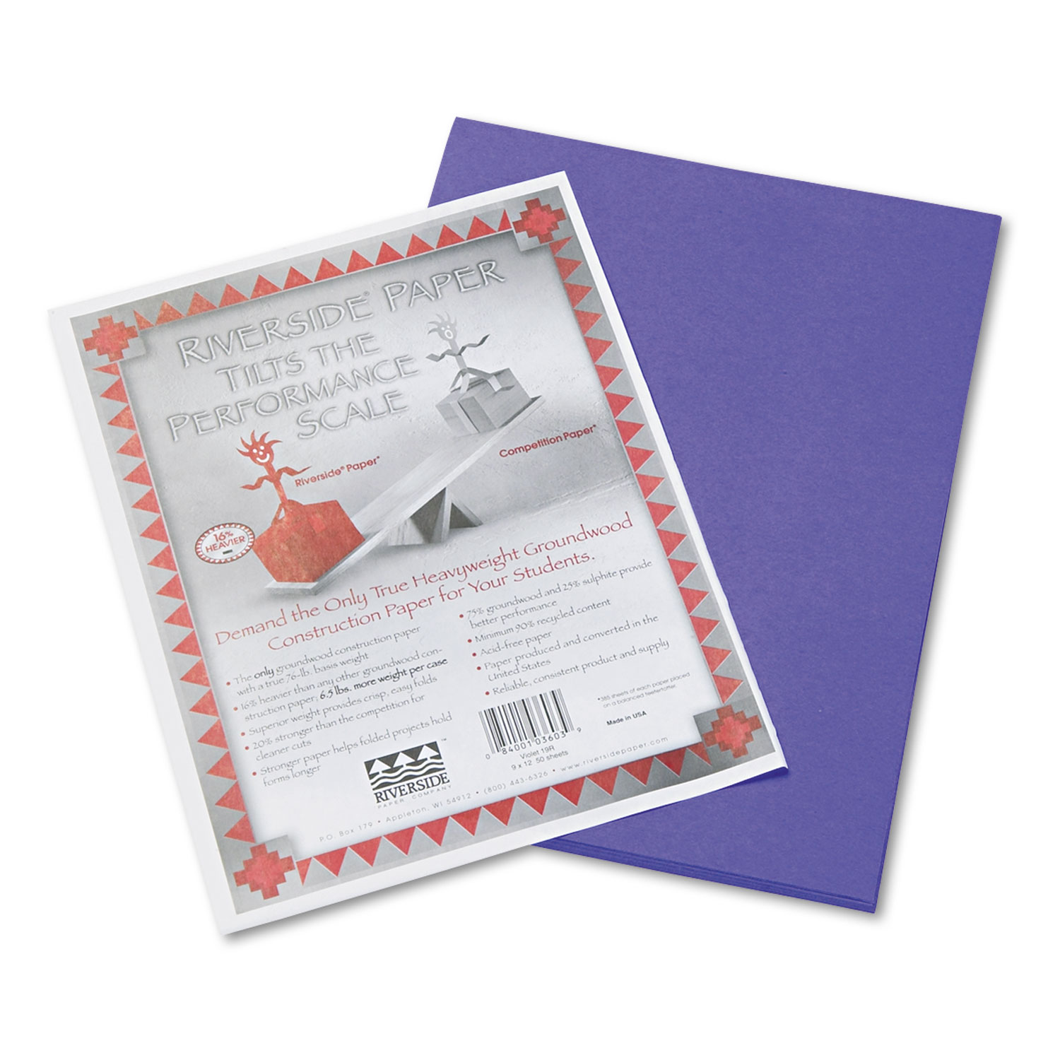 Riverside Construction Paper, 76 lbs., 9 x 12, Violet, 50 Sheets/Pack