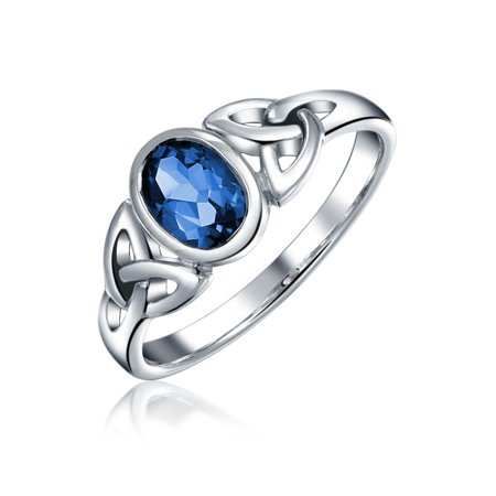 Simulated Sapphire Celtic Trinity Knot Triquetra Ring For Women 1MM Band 925 Sterling Silver September (Ladies Sapphire Ring)