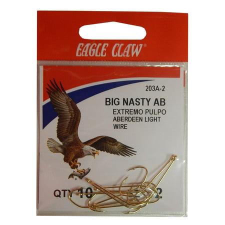 Big Hook Fishing (Eagle Claw Big Nasty AB Aberdeen Light Hooks Size 2 Gold Pack of 10,)