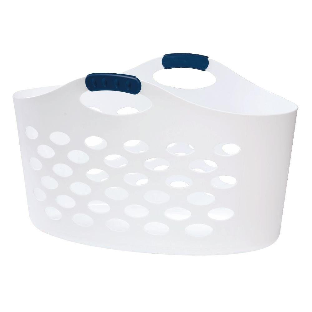 Rubbermaid Flex 'N Carry White Laundry Basket, 1.5 bushel...