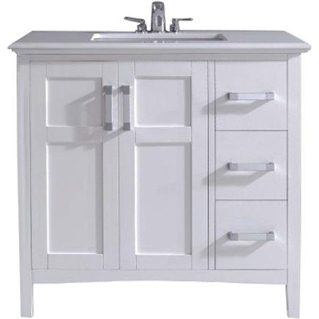 Brooklyn max wilshire 36 white bath vanity for Bathroom vanities brooklyn mcdonald avenue