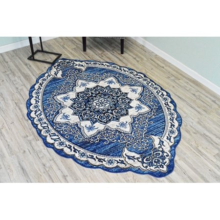TWIST Free Shape 3D Hand Carved Traditional Floral 5x8 5x7 Oval Rug Oriental 4737 Navy Blue ()