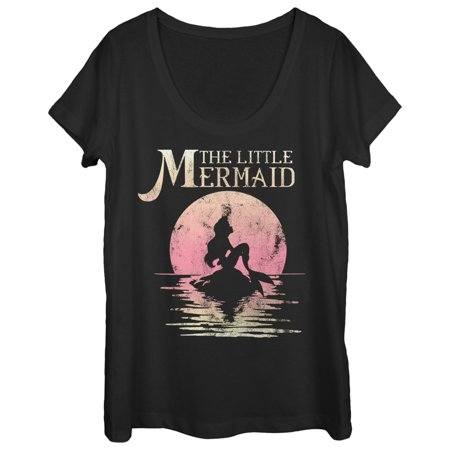 the little mermaid women's ariel sunset scoop neck t-shirt
