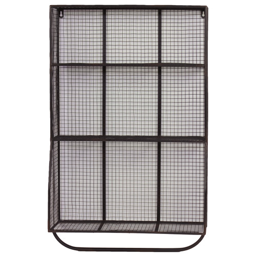 Urban Trends 9 Hole Metal Wall Cubby with Hanger Bar