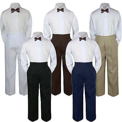 6 Leadertux 3pc Formal Baby Toddler Boy Mustard Bow Tie Brown Pants Set Outfit S-7