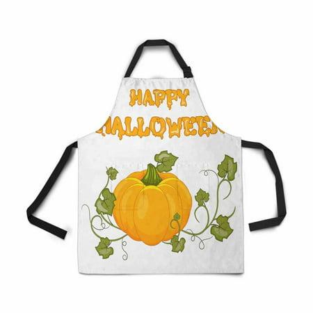 ASHLEIGH Adjustable Bib Apron for Women Men Girls Chef with Pockets Happy Halloween Cartoon Pumpkin White Novelty Kitchen Apron for Cooking Baking Gardening Pet Grooming Cleaning](Halloween Pumpkin Baking)