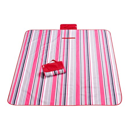 Unique Bargains Outdoor Stripe Pattern Moisture Resistant Beach Blanket Picnic Mat 200 x 145cm](Red And White Picnic Blanket)