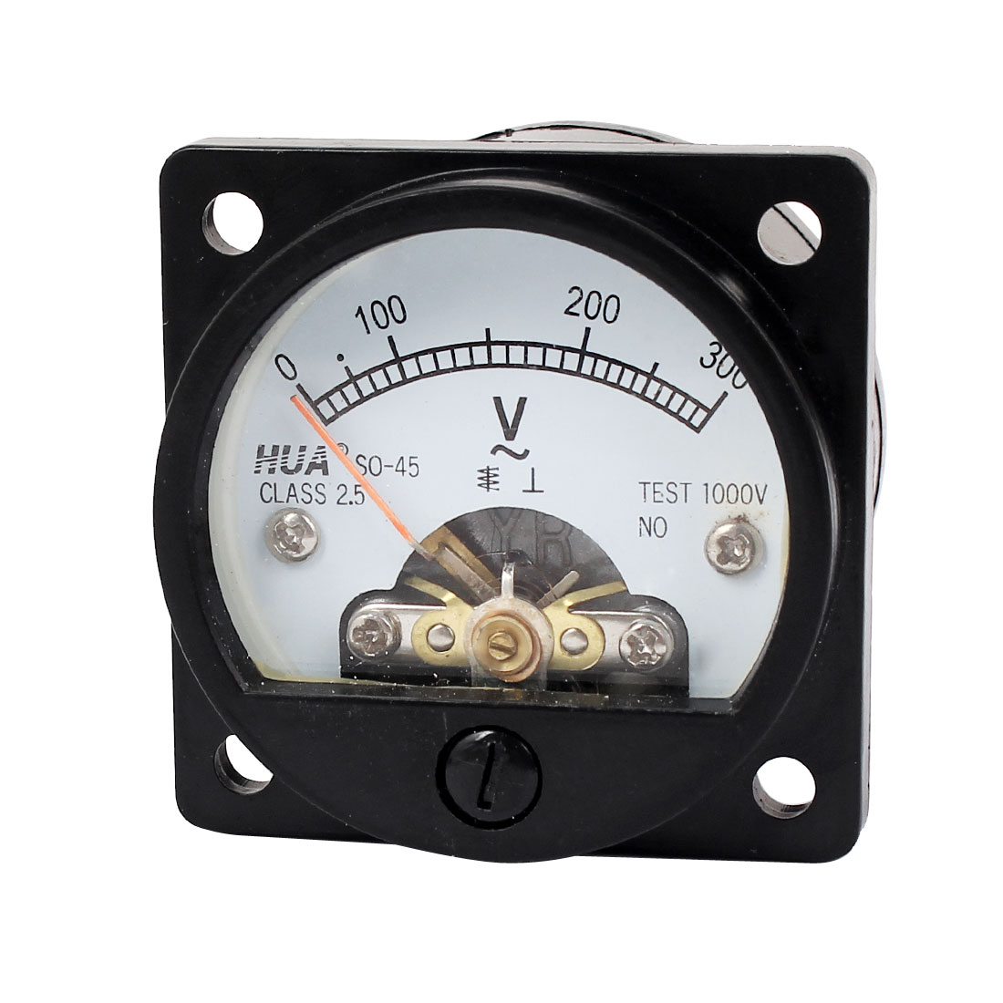 AC 0-300V Fine Tuning Dial Panel Analog Voltage Meter Voltmeter Black Class 2.5