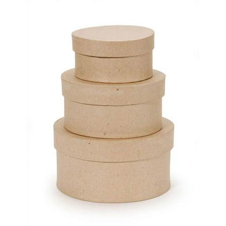 Value Pack Paper Mache Box Set - Round - 4, 5, 6 - Paper Mache Book Box