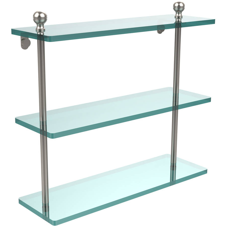 """Mambo Collection 16"""" Triple Tiered Glass Shelf (Build to Order)"""