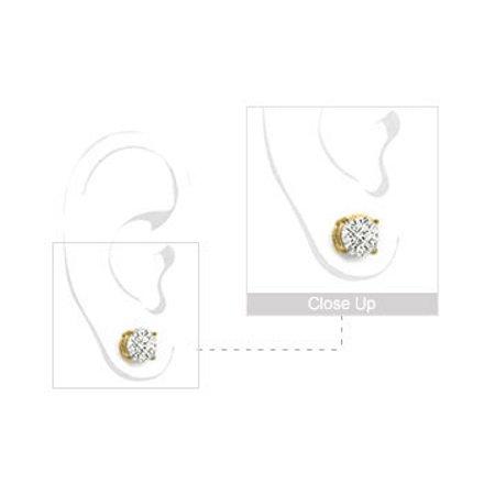2 Carat Cubic Zirconia Stud earrings in 18K Yellow Gold Vermeil Sterling Silver - image 1 de 3