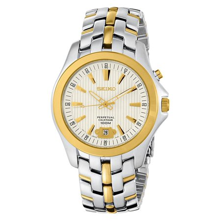 (Seiko Men's Quartz Perpetual Calendar Two-Tone S. Steel Silver Watch SNQ102)