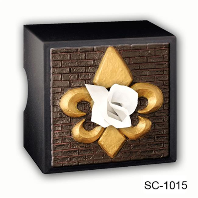 Caravelle Designs Fleur de Lis Tissue Box Cover in and Gold
