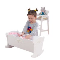 KidKraft Tiffany Bow Scalloped-Edge Wooden Lil Doll Rocking Cradle
