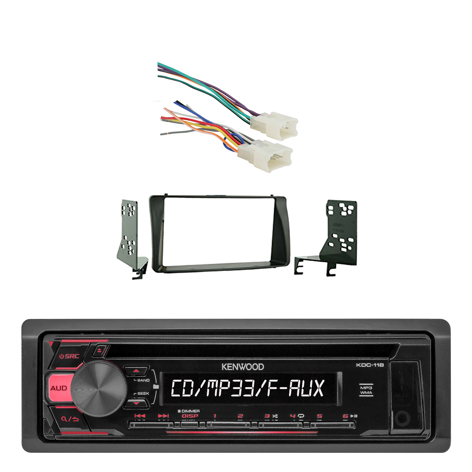 Kenwood In-Dash Single-DIN CD Player AUX Car Stereo Receiver with Metra Radio Wiring Harness For Toyota 87-Up Power 4 Speaker and Metra Double DIN Installation Kit for 2003-up Toyota Corolla Vehicles