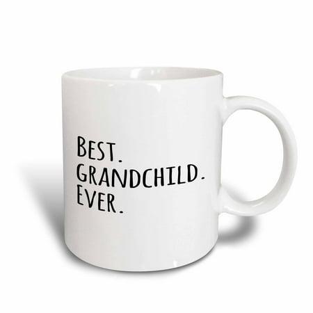 3dRose Best Grandchild Ever - Cute Gifts for Grandchildren - Grandkids - black text, Ceramic Mug, 11-ounce (Halloween Gift Ideas For Grandchildren)