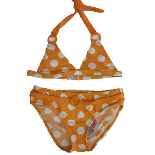 Image of 2B Real Little Girls Orange White Polka Dot Print 2Pc Bikini Swimsuit