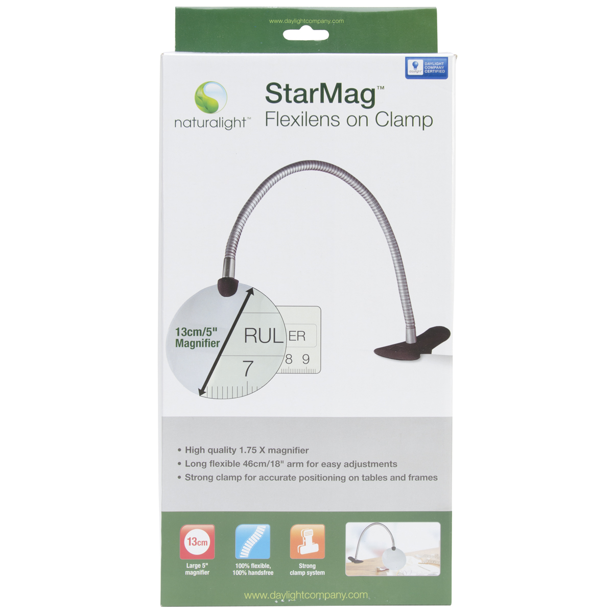 "Daylight Naturalight StarMag Flexilens On Clamp, 18"", White"