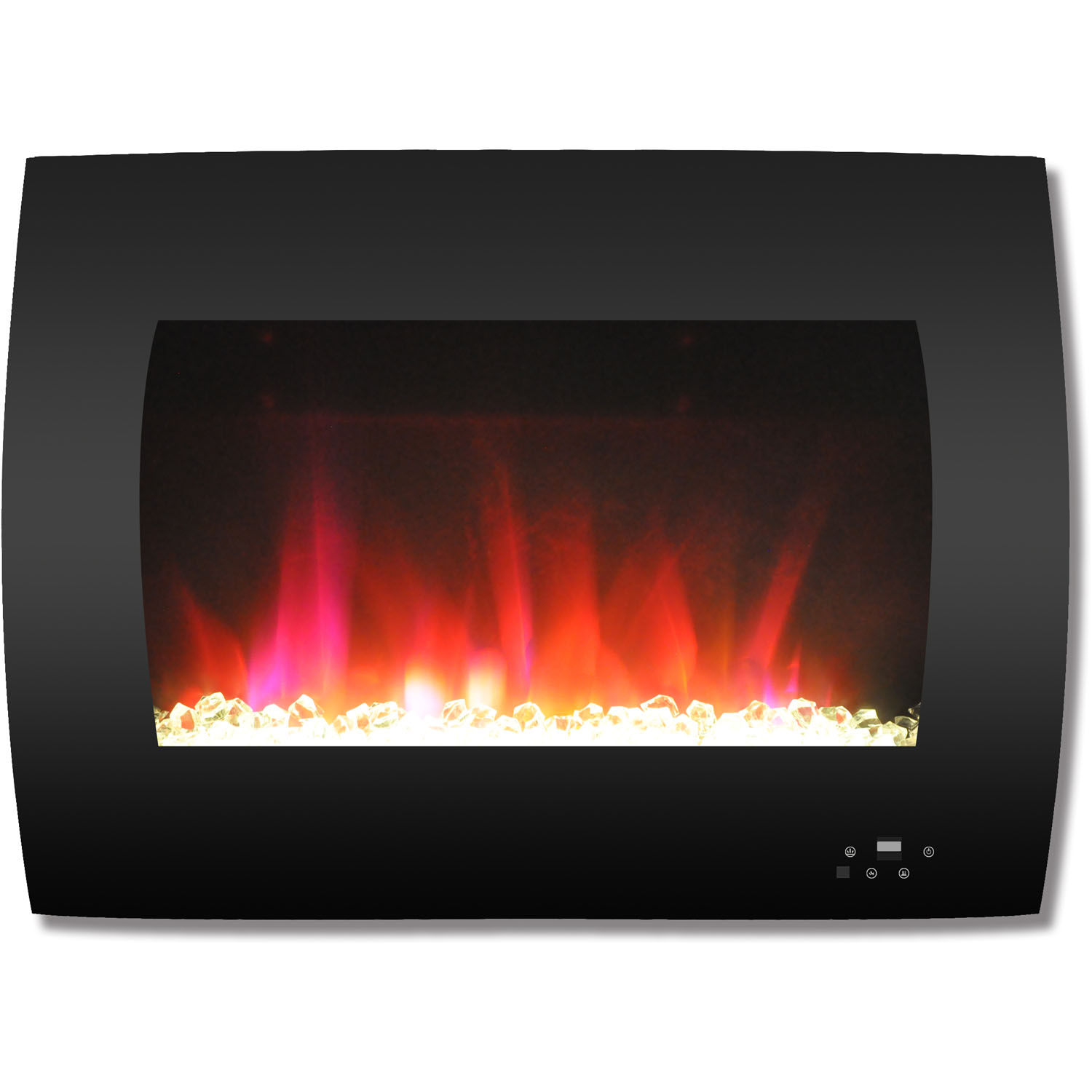 "Cambridge 26"" Curved Wall-Mount Electric Fireplace Heater with Multi-Color LED Flames and Crystal Rock Display"