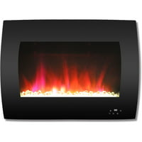 """Cambridge 26"""" Curved Wall-Mount Electric Fireplace Heater with Multi-Color LED Flames and Crystal Rock Display"""