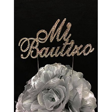 Mi Bautizo Silver Rhinestone Cake Topper Keepsake Party Decoration