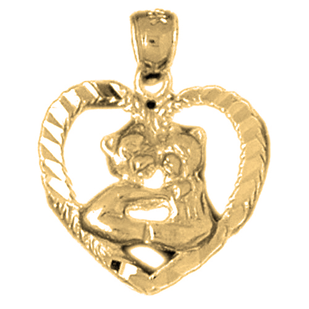 Yellow Gold-plated 925 Sterling Silver Teddy Bear In Heart Pendant - 21 mm (Approx. 1.615 grams)