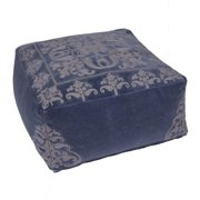 "24"" Vintage Indigo Blue and Cool Gray Floral Pattern Rectangular Cotton Pouf Ottoman"
