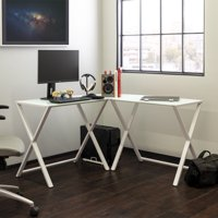 Walker Edison Glass and Metal X-Frame Corner Computer Desk, White