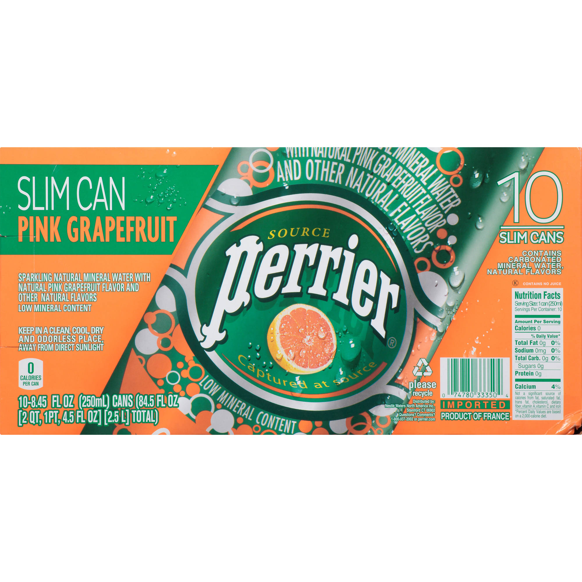 Perrier Sparkling Natural Mineral Water, Pink Grapefruit, 8.4 Fl Oz, 10 Count
