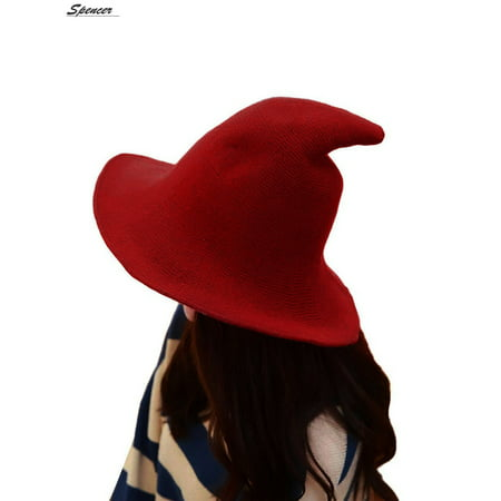 Spencer Winter Halloween Steeple Wool Big Brimmed Pointed Witch Hats Knitted Wizard's Bucket Caps for Women 56-58cm