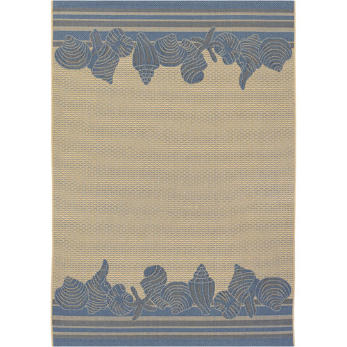 "Couristan Five Seasons Shoreline Flat Woven Courtron Rug, Cream and Blue, 3'7"" x 5'5"""