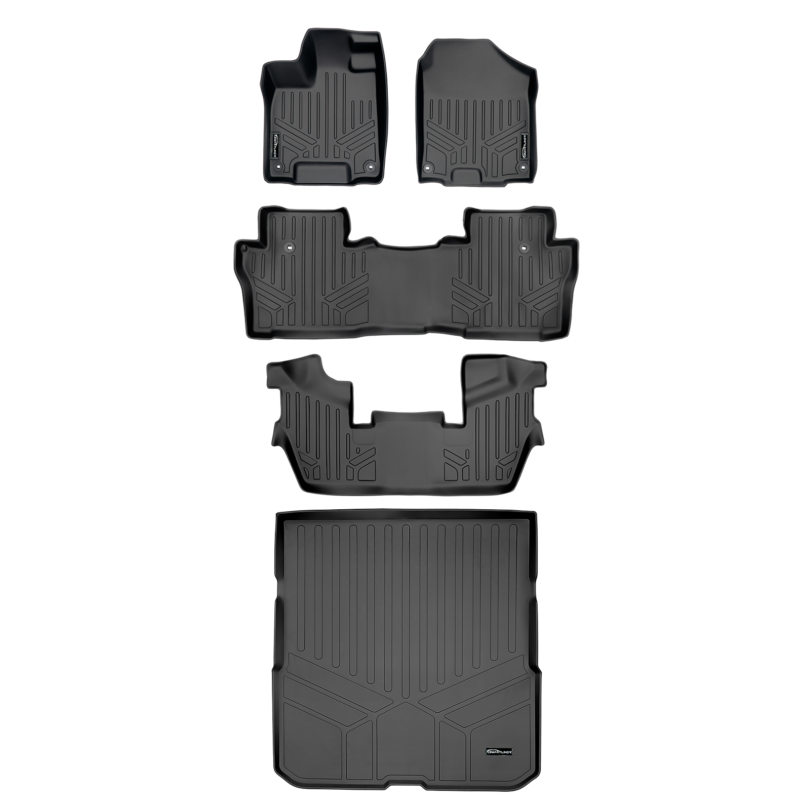 SMARTLINER Custom Fit Floor Mats 2 Row Liner Set Black for 2016-2019 Honda Pilot