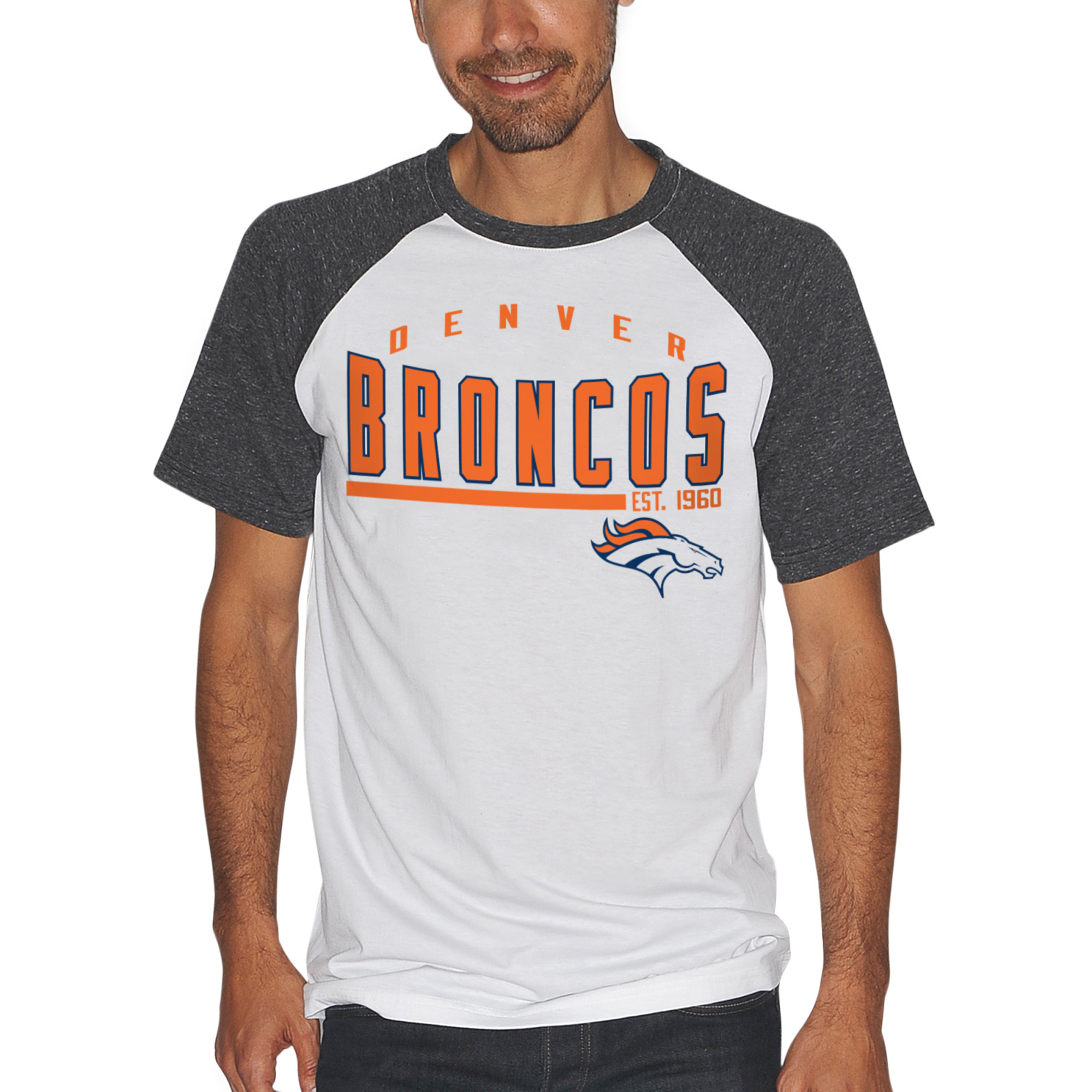 Denver Broncos G-III Sports by Carl Banks Heritage Raglan T-Shirt - White/Charcoal