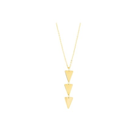 14k Yellow Gold Diamond Cut Oval Fancy Link Chain Triple Triangle Pendant Necklace, (Triple Oval Link)