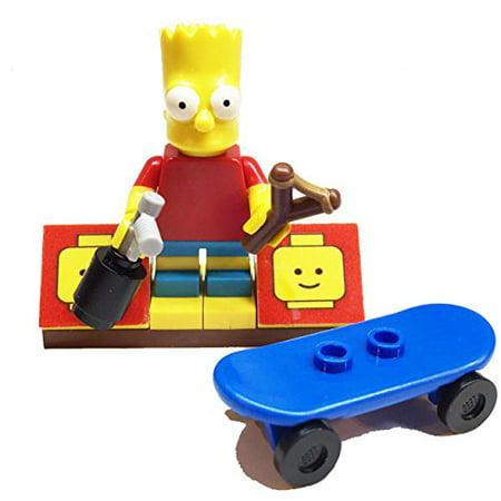 Lego Skateboards (MinifigurePacks: Lego Simpsons Bundle (1) Bart Simpson Minifigure (1) Figure Display Base (3) Figure Accessory's (Skateboard - Spray Can - Slingshot))