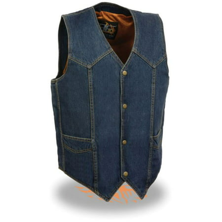 Milwaukee Leather Men's Classic Snap Front Denim Biker Vest  (Heavyweight Leather Vest)