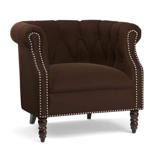 PORTFOLIO  Chesterfield Brown Velvet Arm Chair