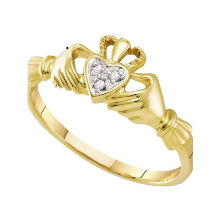 10kt Yellow Gold Womens Round Diamond Claddagh Heart Ring .01 (White Gold Claddagh Ring)