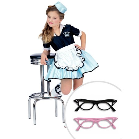 Girl's 1950s Car Hop Costume and Black Rhinestone 50s Cat Eye (50's Car Hop Waitress Costume)