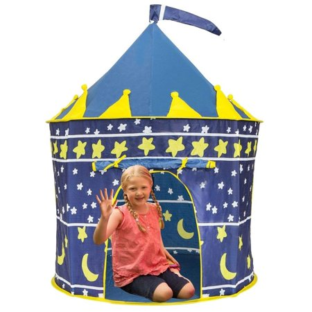 Play Tent Princess Castle Pink - Kids Tent Features Glow in The Dark Stars - Portable Kids Play Tent - Kids Pop Up Tent Foldable Into A Carrying Bag - Indoor and Outdoor Use - Original - Kids Pop Stars