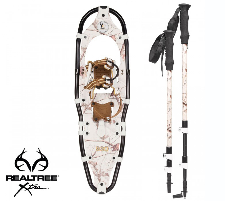 Yukon Charlie's REALTREE Xtra Aluminum Snowshoes(up to 200lbs) Snow Camo w poles by