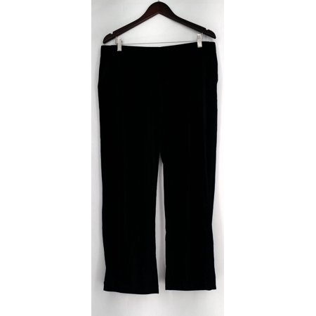 Dennis Basso Petite Size Pants LP Wide Leg Stretch Velvet Black A298253