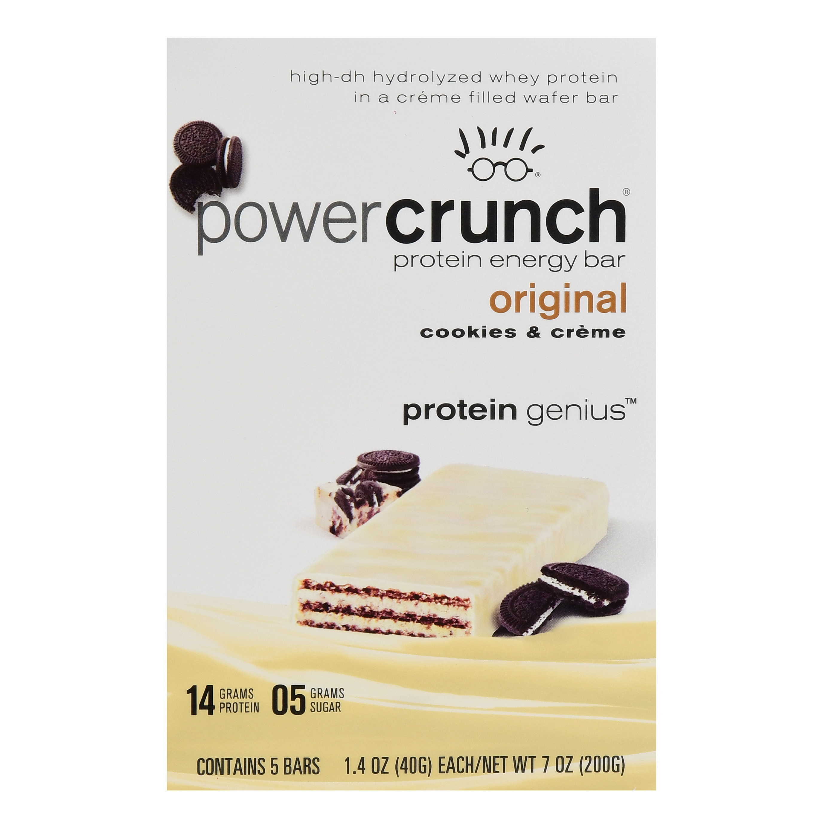 Power Crunch Bar, 14 Grams of Protein, Cookies & Crème, 1.4 oz, 5 Ct