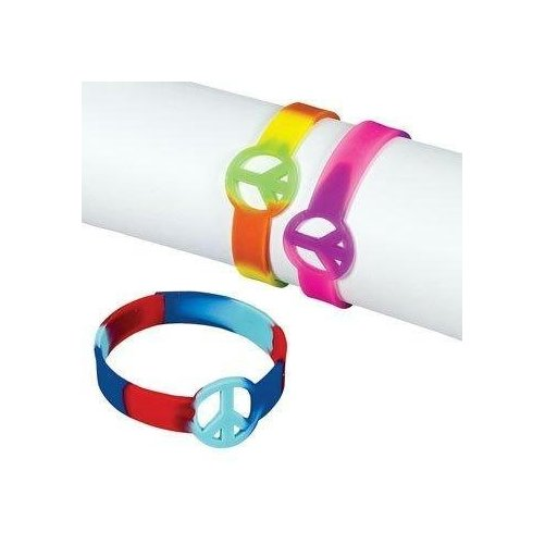 Fun Express - Dozen Rubber Tie-Dyed Peace Sign Bracelets