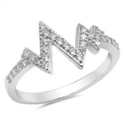 Heartbeat V Shaped Clear CZ Fashion Ring New 925 Sterling Silver Band Size 5