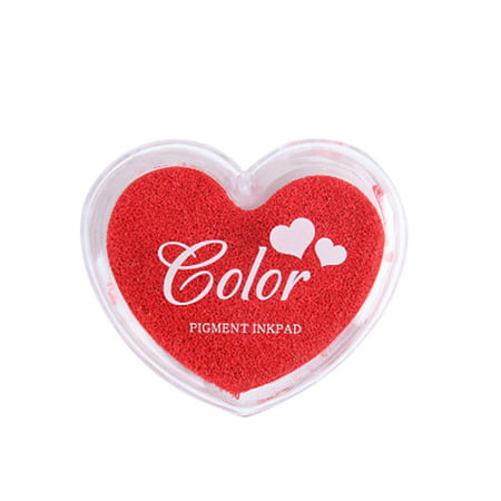 Craft Finger Ink Pad Stamps Candy Colors Heart-Shaped Design Fingerprint Inkpad for DIY Scrapbooking Rubber Stamp Card Making Ink Pad Old Rose